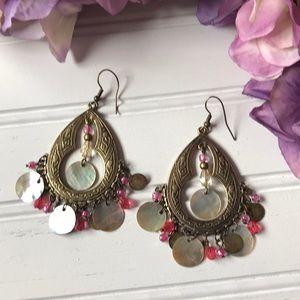 Boho shell bead earrings